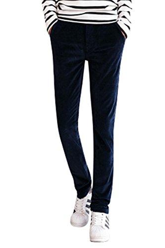 Menschwear Men's Corduroy Pants Stretch Slim Fit Tapered Legs Blue 29