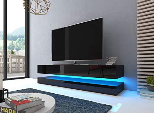 Caspian Flow 140cm LED Floating 2 Drawer TV Cabinet Unit - Black