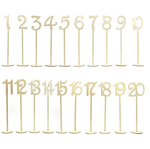 PIXNOR 1-20 Wooden Table Numbers with Holder Base for Wedding or Home Decoration 20 Pack (Wood Color)