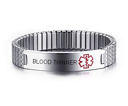 - MEALGUET Blood THINNER Stainless Steel Black Medical Alert ID Stretch Allergy Medical Bracelet for Men Women