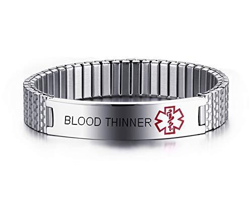 ER Stainless Steel Black Medical Alert ID Stretch Allergy Medical Bracelet for Men Women ()