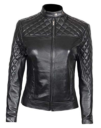 Decrum Womens Leather Jackets - Leather Moto Jacket Women Black | [1300421] Ellen, XS