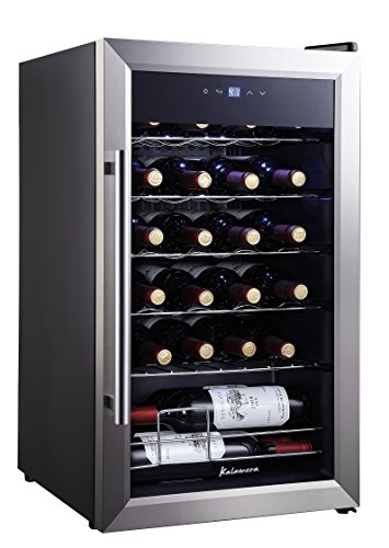 Kalamera KRC-24SS 24 Bottle Single Zone Wine Cooler Small Fridge, Black