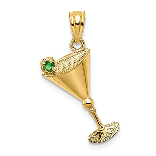 Jewelry Pendants & Charms Themed Charms 14k Martini Glass with Green CZ Olive Pendant