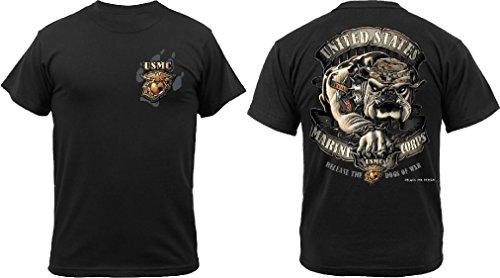 Black Ink Design 2 Sided Marine Corps Devil Dog Bulldog T-Shirt