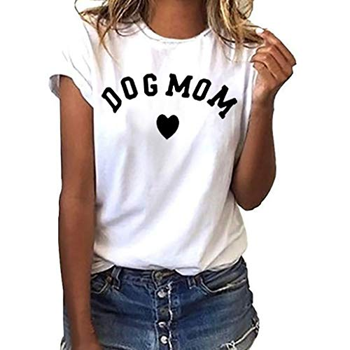 TWGONE Dog Mom Shirts for Women Plus Size Loose Short Sleeve Print T-Shirt Casual O-Neck Top(Large,White-k)
