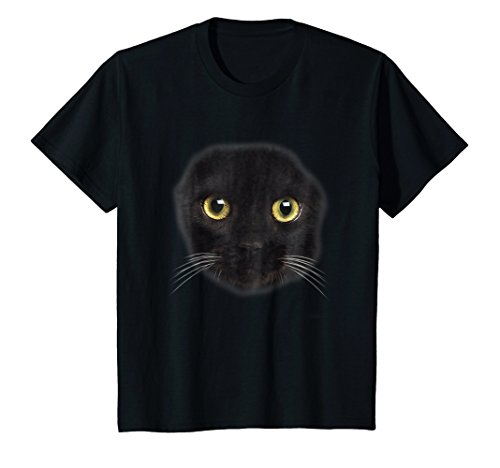 Kids Black Cat Face Scary Halloween Costume T