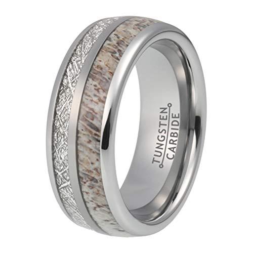 BestTungsten 8mm Mens Tungsten Rings Womens Wedding Bands Deer Antler Meteorite Inlay Comfort Fit