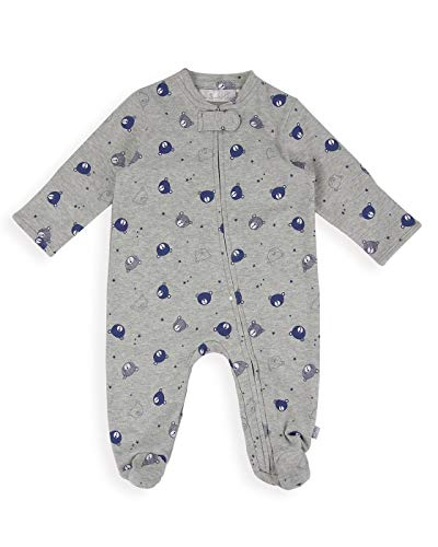 The Essential One - Baby Boy Bear Zip-Up Coverall - White/Navy - 0-3 Months - EO308