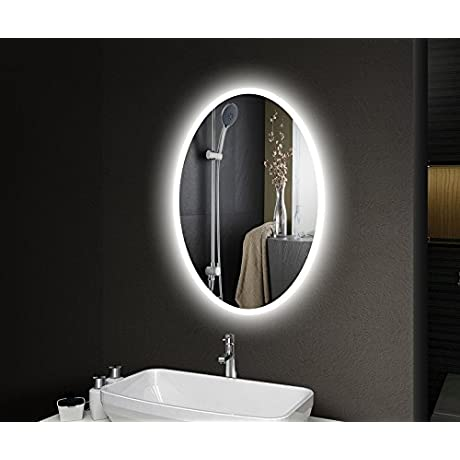 HOMESWEE Backlit Oval Wall Mounted Bathroom Mirrors Illuminated Bathroom Mirrors Backlit Roundness Bathroom Mirror With Dimming And Color Temperature Changeable Function