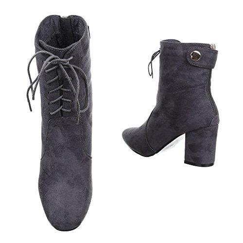 Damen Boots Schuhe Stiefeletten Mit Schnürung Schwarz Beige Grau 36 37 38 39 40 41 Grau