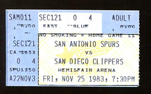 1983 San Antonio Spurs v San Diego Clippers Ticket George Gervin 36 Pts 11/25/83