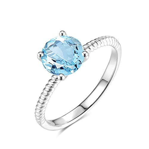 EoCot Custom Size Silver Plated Ring for Women Round Blue Topaz White Gold Single Round Promise Wedding Engagement Ring Size 8.5