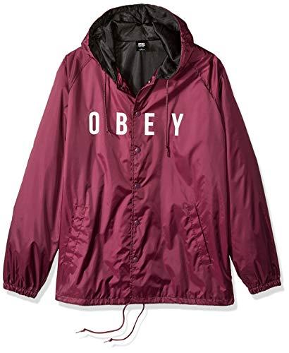 - Obey Men's Anyway  Coaches Jacket, Raspberry, S