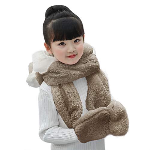 Kid Cartoon Gloves Scarf Girls 3 In 1 Set Winter Hood Animal Hat Children Warm Cap Pocket Mitten Outdoor Neck Wrap 3PCS