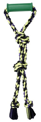 Flossy Chews Color Twin Tug with Rubber Handle, Large, 24-Inch (Rubber Tug)