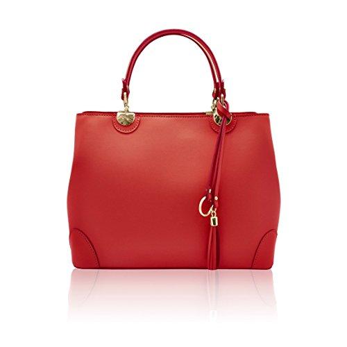 Italiaanse rode gladde met afneembare handtas Lederen Stijve myitalianbag schouderhanger franjes Cristina Upwqn6