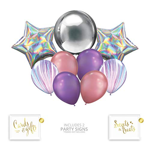 Andaz Press Pastel Iridescent Unicorn Party Balloon Bouquet Set, Rainbow Holographic Party Supplies, Inflatable Foil and Latex Balloons, Bulk Balloon Kits for Mermaid Birthday Party Decoration Ideas ()