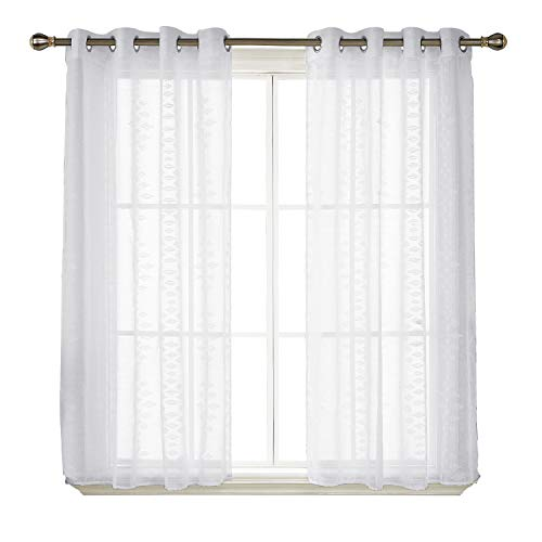 Deconovo Semi Sheer Curtains Striped Pattern White Sheer Curtains Drapes Grommet Jacquard Sheer Window Curtains for Girls Room 52x45 Inch (Curtains Panel Polyester Sheer)