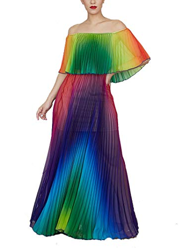 IyMoo Sexy Chiffon Sundress Tie Dye Dresses for Women Halter Neck Backless Long Boho Print Beach Dresses (S, Colorful)