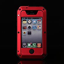 iPhone 4S Case,LISANA Gorilla Glass Luxury Aluminum Alloy Protective Metal Extreme Shockproof Military Bumper Heavy Duty Cover Shell Case Skin Protector for Apple iPhone 4/4S (Red)