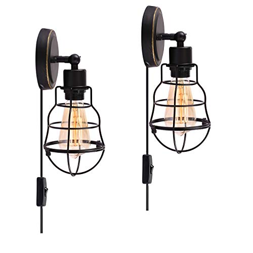 (Wire Cage Industrial Wall Sconce Plug-in Wall Light Vintage Style Edison E26 Base for Headboard Bedroom Nightstand, Porch or Bathroom Vanity (Set of 2))