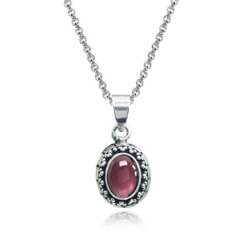 Sterling Silver Simulated Cabochon Garnet Oval Thick Oxidized Bali Dainty Pendant Necklace