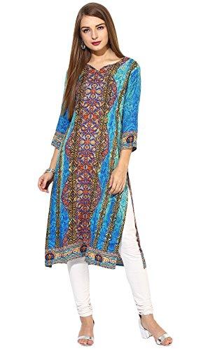"100% Rayon Hand Wash (Lagi Designer Rayon Straight Kurti for Women Printed Tunic Top Round Collar ¾ Th Sleeve Dress"" (2XL-46))"