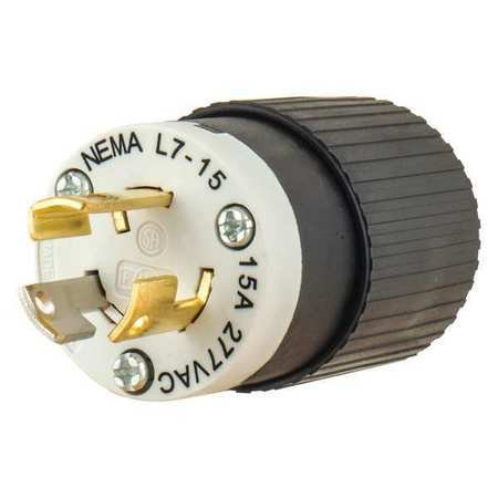 15p 3w 2p Plug (15A Locking Plug 2P 3W 277VAC L7-15P BK/WT)
