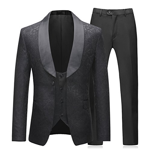 Boyland Mens 3 Piece Tuxedos One Button Wide Shawl Lapel Formal Suits Black Tie
