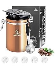 JENNIER kaffe rostfritt stål behållare stor med genomskinlig fönsterbehållare färskbönor och skäl för längre behållare med datumspårning, CO2-frigöringsventil och mätskopa