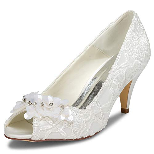 JIAJIA 5949420 Women's Bridal Shoes Peep Toe Cone Heel Lace Satin Pumps Satin Flower Rhinestone Wedding Shoes Color Ivory,Size 6.5 B(M) US/37 EU ()