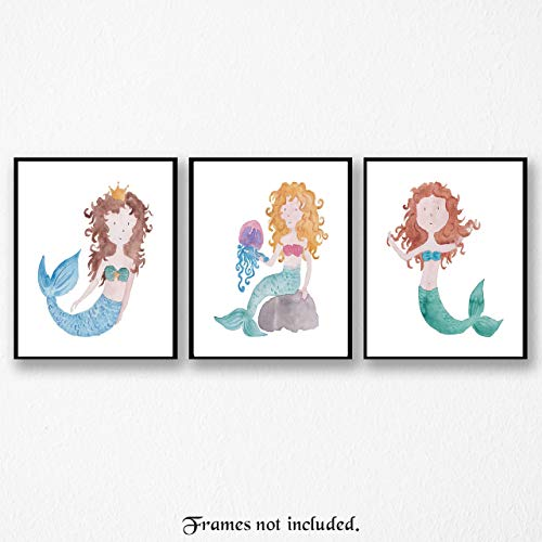 Mermaid Pictures - Set of 3 (Three 8x10) Wall Art Prints-Posters for Home, Baby Showers, Girls Room, Bathroom, Beach Decor - Ready to be Framed - Great Wall Art Decor Gifts Under $15