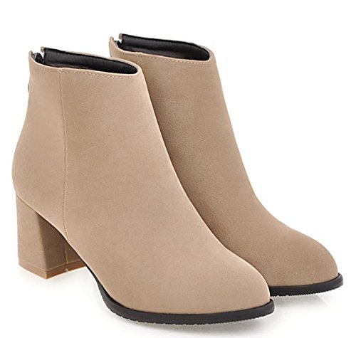 Zip Ankle Heels Booties apricot Women's Stylish Chunky Aisun Frosted Up Mid IY8Oqw