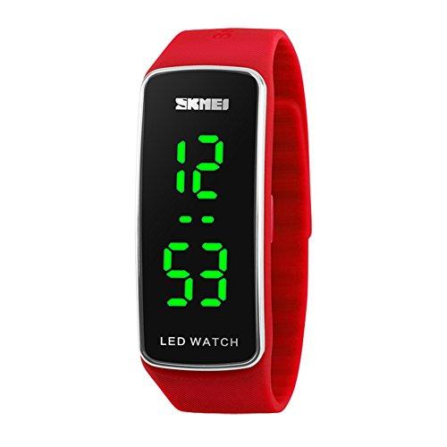 Kortusa LED Sport Digital Wrist Watch 50M Waterproof for Kids Boys Girls Men Women Silicone Bracelet Watch Red