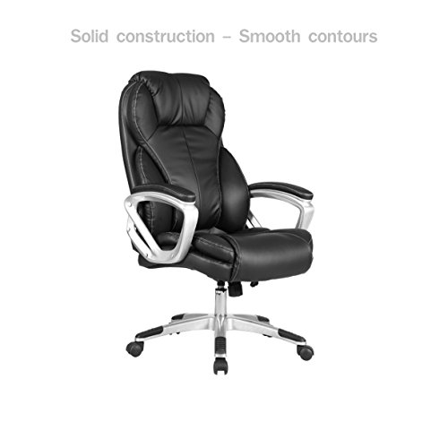 Modern Executive Office Chair High Back Design Smooth Contours Adjustable Height PU Leather Upholstery Posture Backrest Support Comfortable Armrest Heavy-duty 5 Casters Home Office Furniture - Canada Black In The At Friday Bay