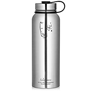 Swig Savvy Water Bottles Stainless Steel - Vacuum Insulated Water Bottle + Stainless Steel Leak & Sweat proof Cap Double Wall Thermos Flask For Hot or cold Beverages (Stainless Steel, 40oz)