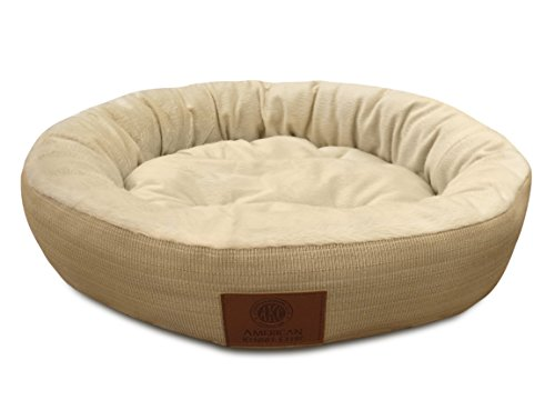 (American Kennel Club Casablanca Solid Round Bed for Pets, Tan)