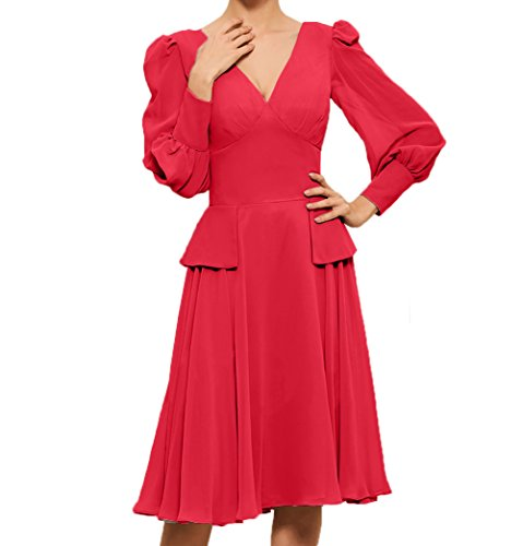 Linie Knielang Langarm Partykleider Damen Ausschnitt Brautmutterkleider Rot V A Abendkleider Charmant Promkleider qw15vngxnB