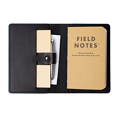 Coal Creek Leather Field Notes Cover with Pen Holder/Wickett & Craig Full Grain Leather/Handmade in the US (Black)