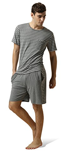 QIANXIU Men's Summer Short Sleeve Pajamas Casual Striped Shorts & Shirt PJ Set, Grey, Large by QIANXIU (Image #6)