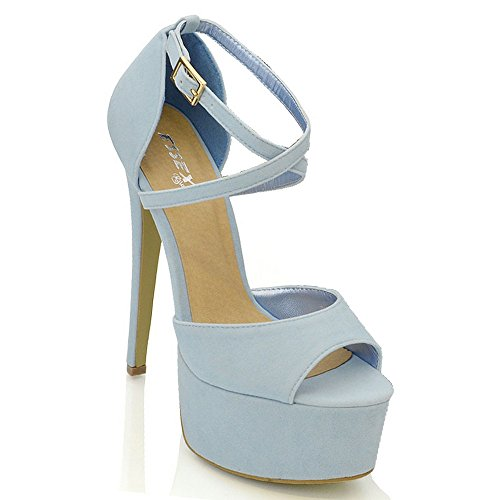 Essex Glam Womens Strappy Ankle Strap Light Blue Faux Suede High Heel Platform Sandals 9 B(M) US