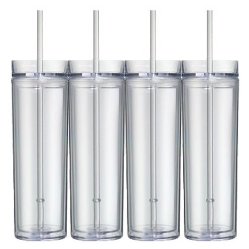Set of 4 Skinny Acrylic Tumblers by WorkofHeartGifts, Double Wall, Skinny Acrylic Tumbler 16oz Clear