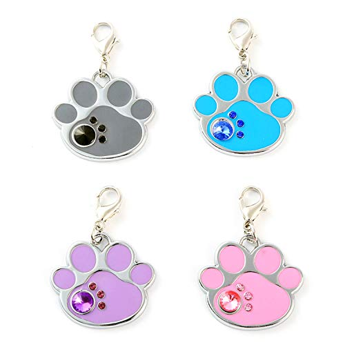 IMIKE 4 Pcs Rhinestone Paw Shaped Collar Pendant Charms Jewelry Set for Pet Cat Dog Necklace Collar Accessory