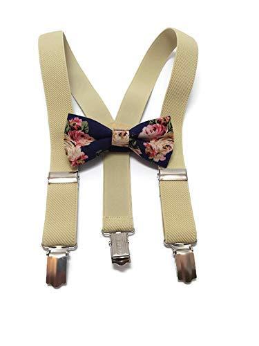 Light Brown Khaki Elastic Suspenders Boy Toddler Baby Blue Cotton Bow tie
