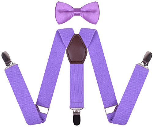 Bow Tie and Suspenders Set for Boys Y Shape Leather Dress Braces Suspender Lavender boys 30 Inches(8 yrs - 15 yrs)
