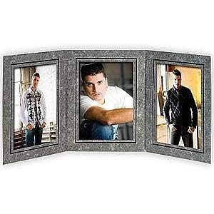 - Triple 5x7 Black Marble cardstock photo frame w/black foil border sold in 10's - 5x7