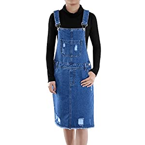 Anna-Kaci Junior Womens Distressed Denim Adjustable Strap Overall Dress