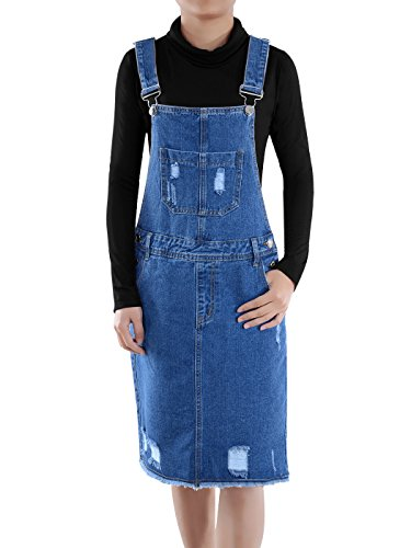 Anna-Kaci Junior Womens Distressed Denim Adjustable Strap Overall Dress, Blue, X-Large