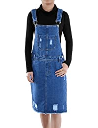 Junior Womens Distressed Denim Adjustable Strap Overall Dress
